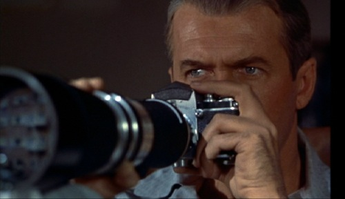 Jimmy Stewart's gaze through the camera serves as plot device, main theme, and weapon in Alfred Hitchcock's Rear Window.