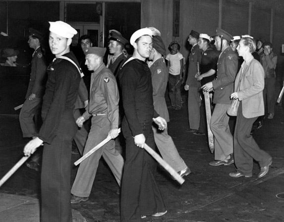 White sailors during the Zoot Suit Riots, 1943