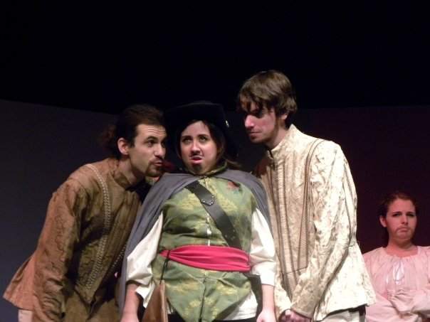 In the spirit of playfulness, here is picture that is very dear to me. In the center we have Danielle Hillanbrand bringing down the house as the Player King in our production of Rosencrantz and Guildenstern are Dead in mascara and a goatee.