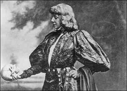 Sarah Bernhardt staring down a skull, like a boss: #ladymafia original