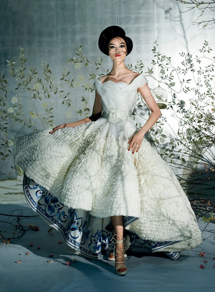 The exhibit itself does boast undeniably beautiful highlights. Here, Fei Fei Sun is photographed for Vogue in a John Galliano gown from Spring 2009.