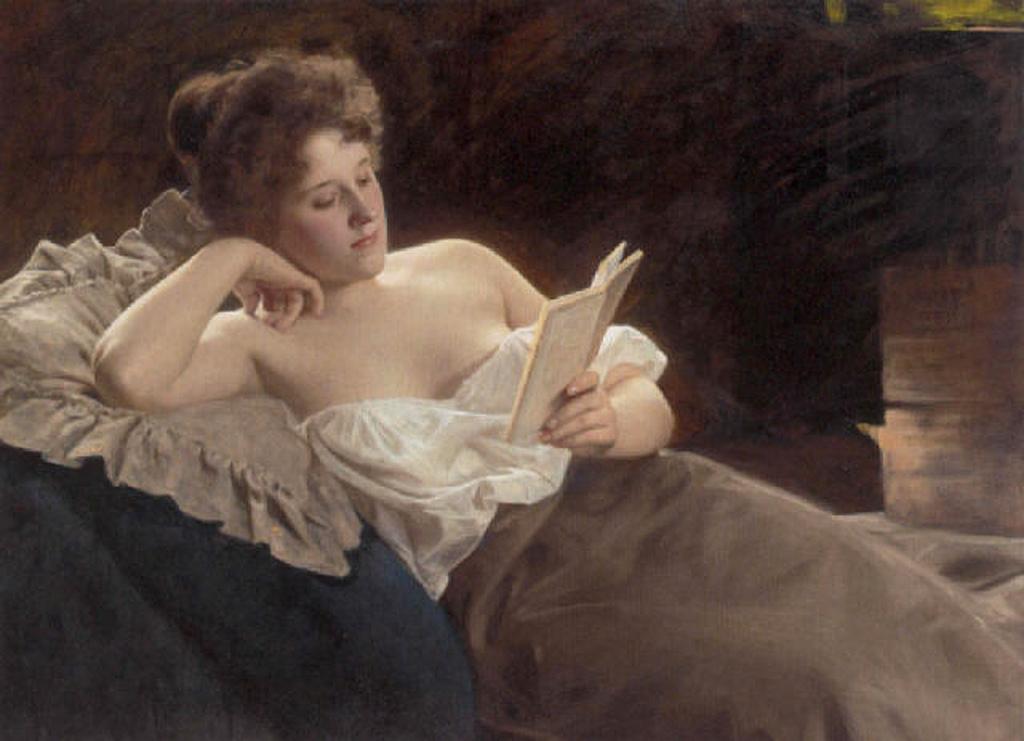 Look at this pesky New Woman soaking up scandal via her novel-reading! | Painting by Albert Ritzberger, image via jamesjoel (Flickr)