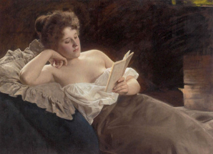 Look at this pesky New Woman soaking up scandal via her novel-reading! | Painting by Albert Ritzberger, image via jamesjoel (Flickr)