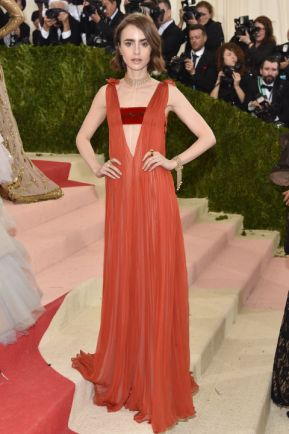 Lily Collins in Valentino, with futuristic white-laser makeup